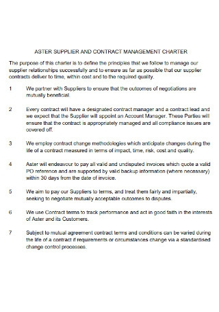 Supplier Contract Management Charter