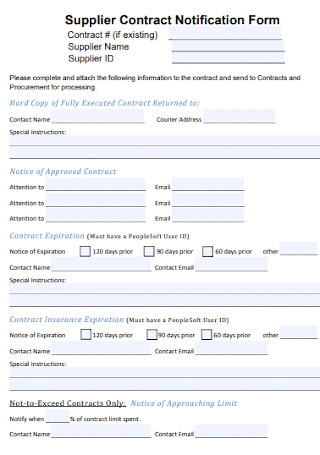 Supplier Contract Notification Form