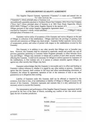 Supplier Deposit Guaranty Agreement