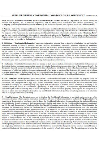 Supplier Mutual Confidential Non Disclosure Agreement