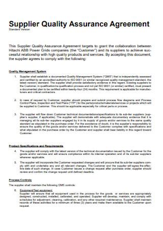 Supplier Quality Assurance Agreement