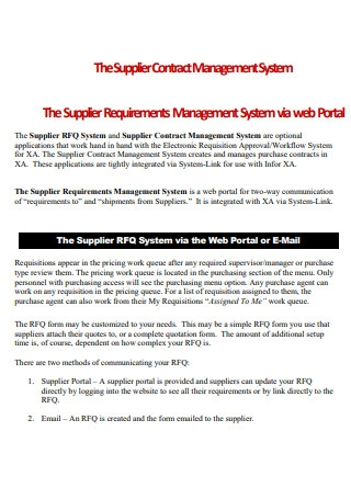Supplier Requirements Management Contract