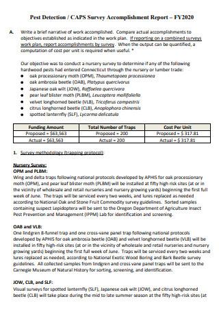 Survey Accomplishment Report