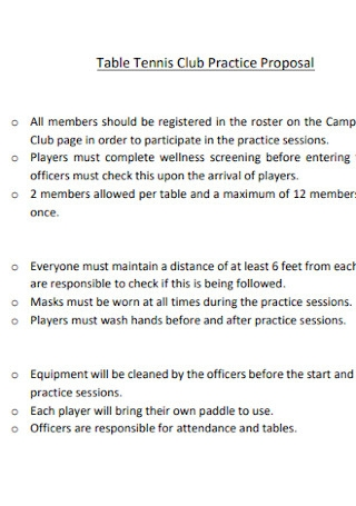 Table Tennis Club Practice Proposal
