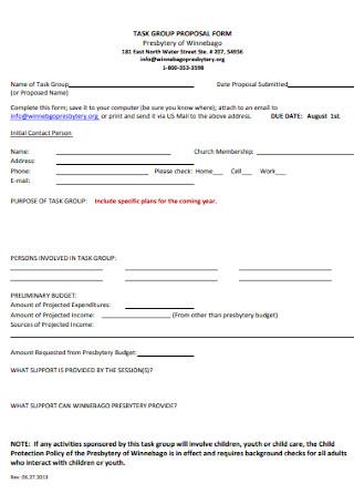 Task Group Proposal Form