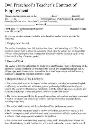 Teacher Contract of Employment