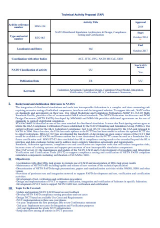 Technical Activity Proposal