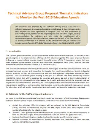 Technical Advisory Group Proposal