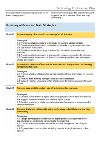 Technology For Learning Plan