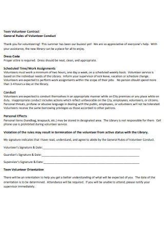 Teen Volunteer Contract