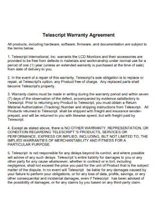 Telescript Warranty Agreement