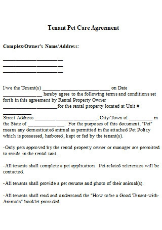 Tenant Pet Care Agreement