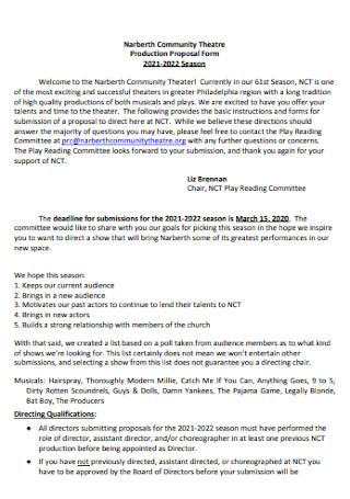 Theatre Production Proposal Form