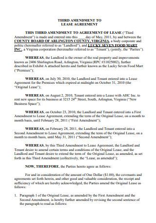 Third Amendment to Lease Agreement