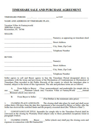 Time Share Sale and Purchase Agreement