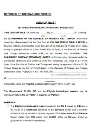 Tobago Deed of Trust
