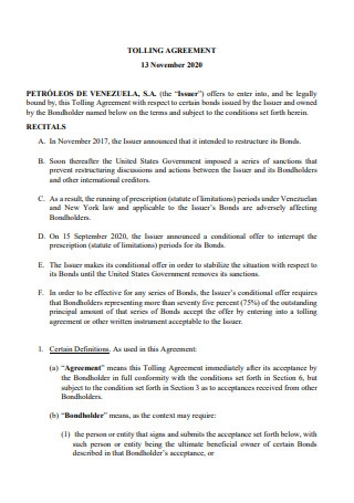 Tolling Agreement Example