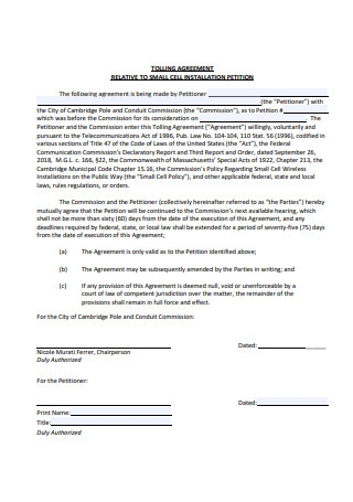 Tolling Agreement to Small Installation
