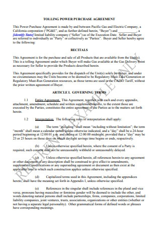 Tolling Power Purchase Agreement