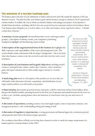 Tourism Business Plan Workbook