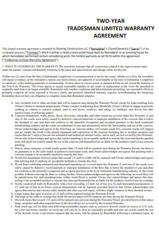 Tradesman Limited Warranty Agreement