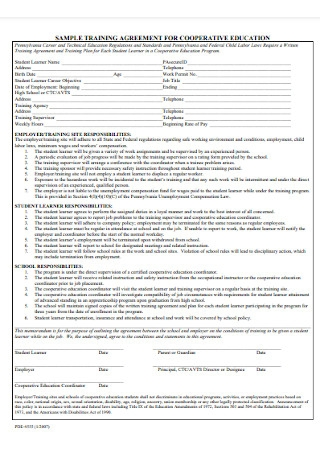 Training Agreement for Cooperative Education