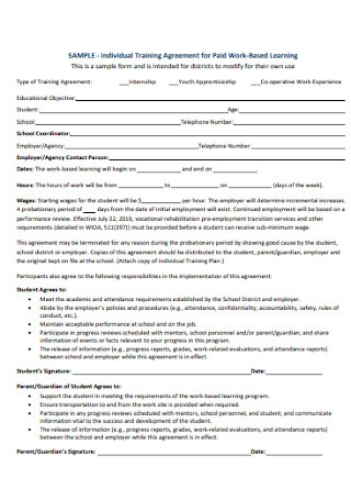 Training Agreement for Paid Work Based Learning