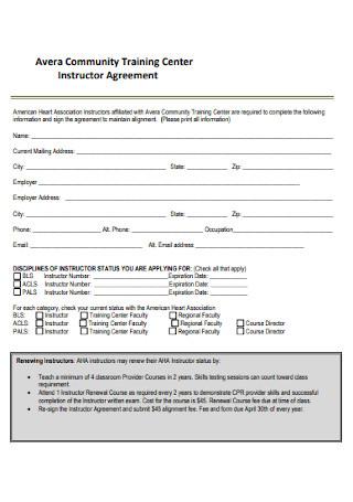 Training Center Instructor Agreement