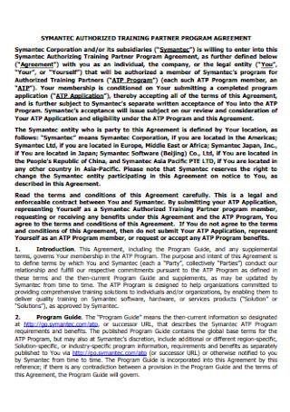 Training Partner Program Agreement