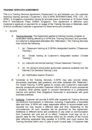 Training Service Agreement