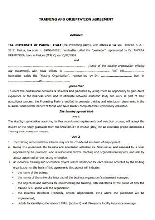 Training and Ordination Agreement