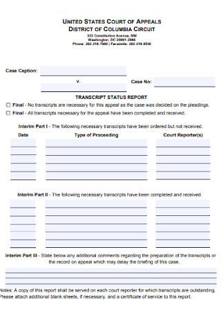 Transcript Status Report
