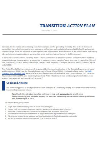 Transition Action Plan