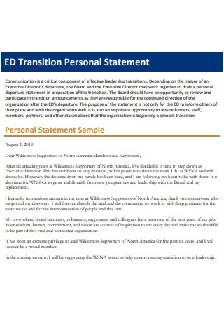 Transition Personal Statement