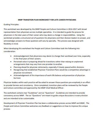 Transition Plan Worksheet