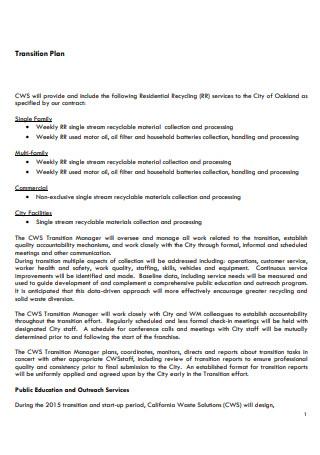 Transition Plan in PDF