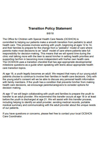 Transition Policy Statement