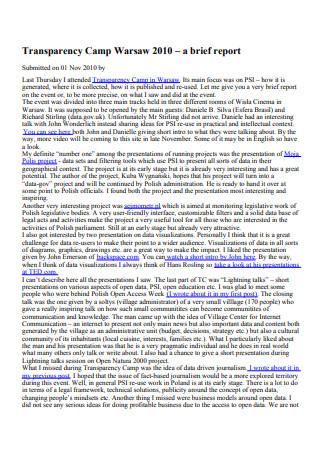 Transparency Camp Brief Report