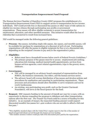 Transportation Empowerment Fund Proposal