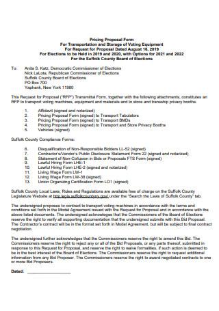 Transportation Pricing Proposal