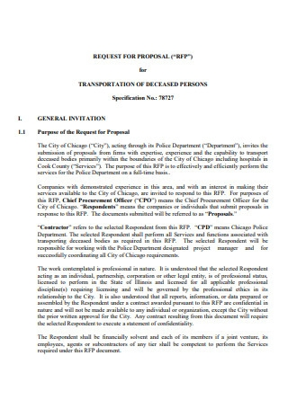 Transportation of Deceased Person Proposal