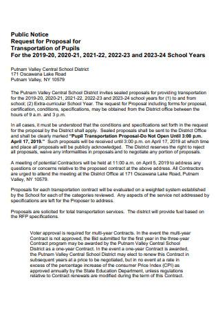 Transportation of Pupils Proposal