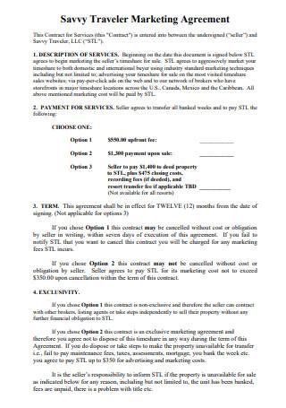Traveler Marketing Agreement