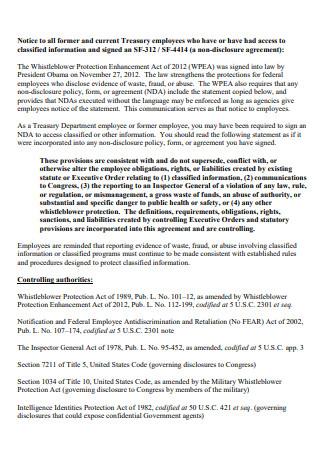 Treasury Employee Non Disclosure Agreement