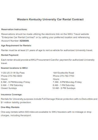 University Car Rental Contract