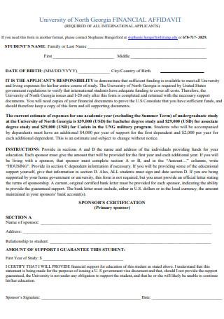 University Financial Affidavit