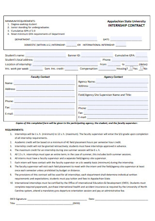 University Internship Contract