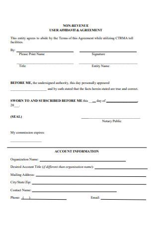 User Affidavit and Agreement