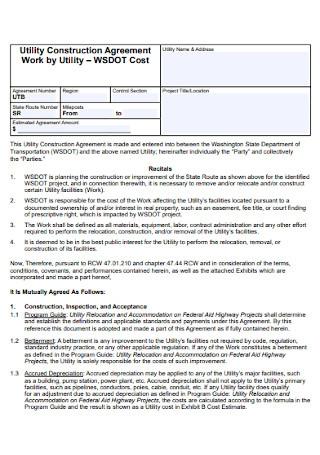 Utility Construction Agreement