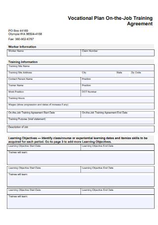 Vacation Plan Training Agreement